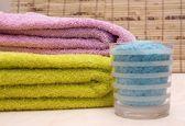 Bath Salt and Bath Towels — Stock Photo