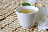 Green Tea in White Cup — Stock Photo