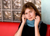 Girl in Blue Scarf Listening Music — Stock Photo