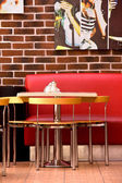 Table and Red Sofa in the Cafe — Stock Photo