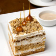 Cubic Sandwiched Cake with Caramel Decoration — Stock Photo