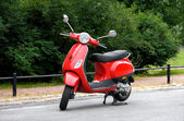 One Red Scooter in the Park — Stock Photo