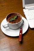 Tiramisu Dessert and White Laptop — Stock Photo