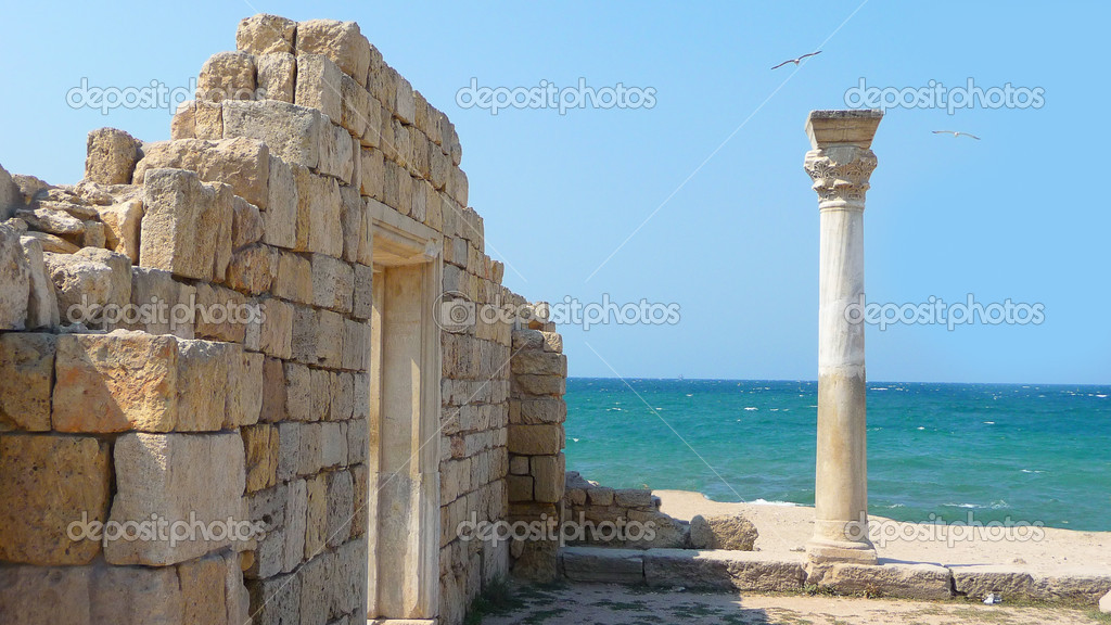 Ruins of ancient ancient building on a background a sea  Stock Photo #1458985
