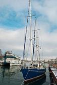 Dark blue yacht — Stock Photo