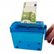 Stock Photo: Mini paper shredder and Euro banknote