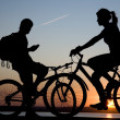 Two bicycler on sunset — Stock Photo #1944387