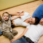 Family on a floor — Stock Photo