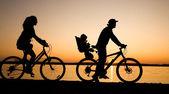 Aile bicycler — Stok fotoğraf