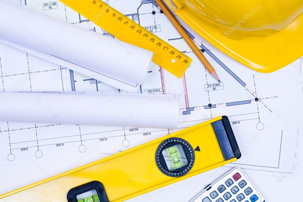 Close-up of various tools for construction and architecture   — Stock Photo #2551142