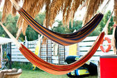 Hammocks in a kiosk — Stock Photo