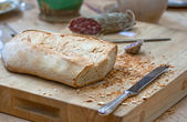 Bread and salame — Stock Photo