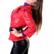 Woman in leather pants. — Stock Photo