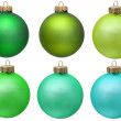 Stock Photo: Green christmas ornament collection .