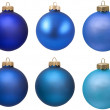 Blue christmas ornament collection. — Stock Photo