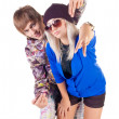 Teenage smiling rap couple. - Stock Photo