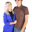 Stock Photo: Smiling teenage couple.