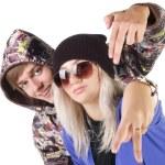 Teenage smiling rap couple. — Stock Photo