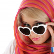 图库照片: Pretty blonde woman with sun glasses