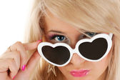 Pretty young girl in white sun glasses — Stock Photo