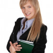 Stock Photo: Business woman with a notepad.