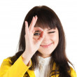 Young businesswoman doing the okay sign — Stock Photo #1596827