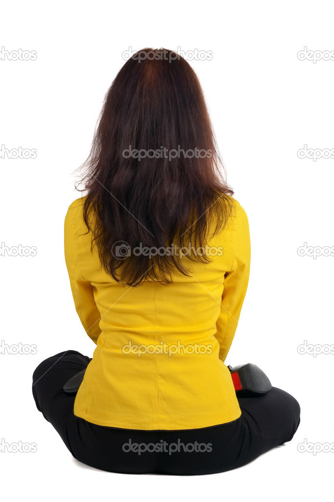 Beautiful businesswoman exercising yoga. Rear view .  — Stock Photo #1596933
