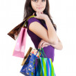 Beautiful woman with shoping bags. — Stock fotografie