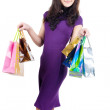 Beautiful woman with shoping bags. — 图库照片