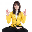 Businesswoman exercising yoga . — Stock Photo