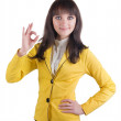 Young businesswoman doing the okay sign — Stock Photo