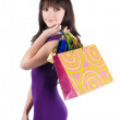 Beautiful woman with shoping bags. — Stok fotoğraf