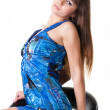 Sexy brunette in a blue dress. — Stok fotoğraf