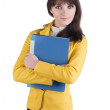 Young woman in yellow suit — Stock Photo