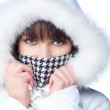 Stock Photo: Beautiful happy woman in winter clothes.