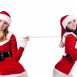 Two girl friends in christmass costumes. — Stock Photo #2009036