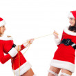 Two sexual girls in Christmas clothes . — Стоковое фото