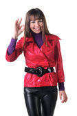 Brunette in red showing ok gesture. — Stock Photo