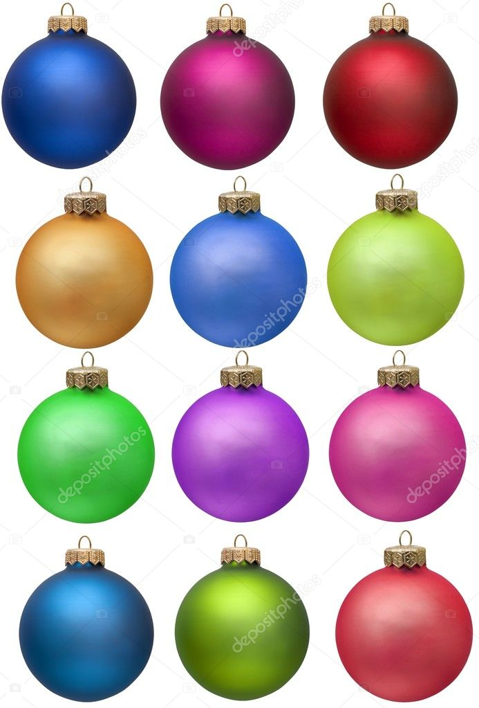 Collection of colored christmas ornament . Isolated over white. — Stock Photo #2007512