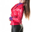 Womin leather pants. Isolat — Stock Photo #2010348