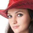 Woman in a cowboy hat. — Stock Photo