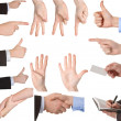 Collection of hands showing gestures - Stockfoto