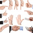 Collection of hands showing gestures - Stock Photo