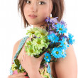 Young girl with camomiles . — Stock Photo