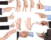 Collection of hands showing gestures — Stock Photo