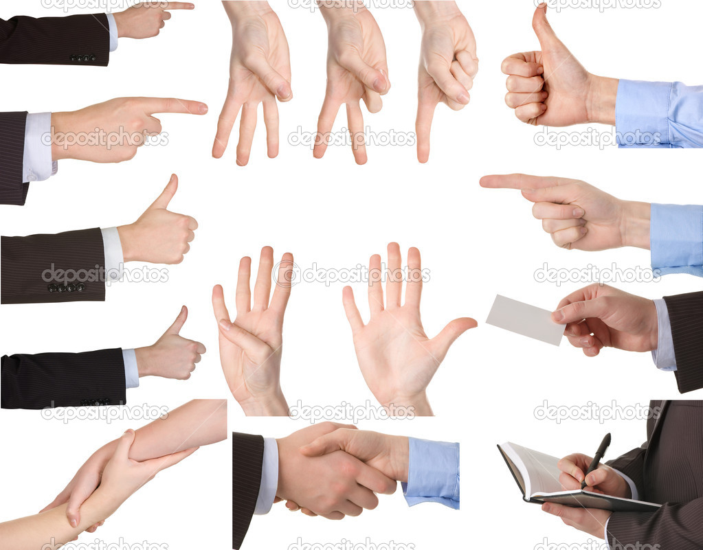 Collection of hands showing gestures Isolated over white background. — Stock Photo #2012168