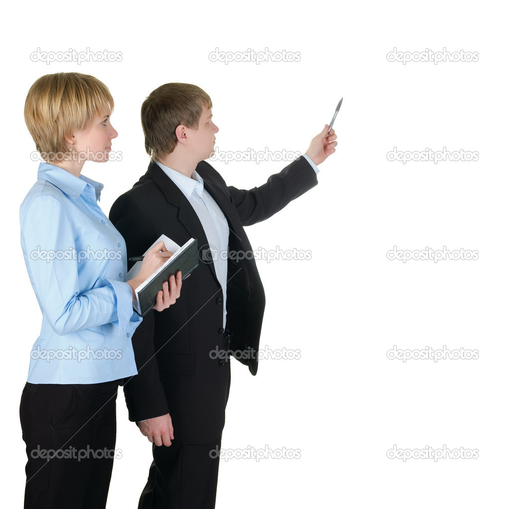Portrait of businessman pointing at wall with woman near by. Isolated over white. — Stock Photo #2013257