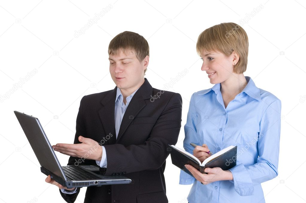 Portrait of two business working together. Isolated over white. — Stock Photo #2013288