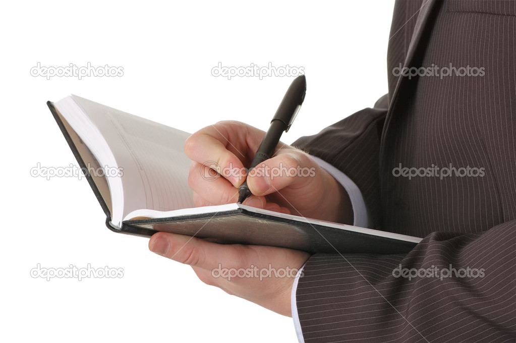 Businessman hands write in notepad. Isolated over white — Stock Photo #2013446