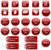 Red shopping icons — Stock Vector
